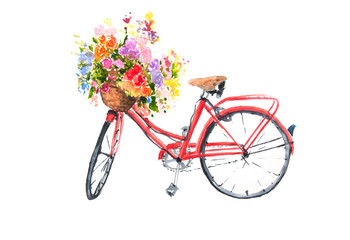 Red retro bicycle with colorful flowers in basket, watercolor illustrator, bike art, can be used for home decorate