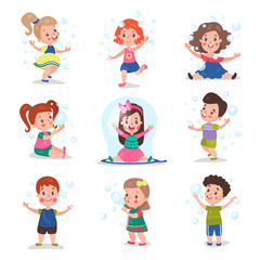 Cute little children blowing and playing with soap bubbles, set of cartoon vector Illustrations