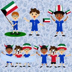 Set of boys with national flags of Kuwait. Blanks for the day of the flag, independence, nation day and other public holidays. The guys in sports form with the attributes of the football team