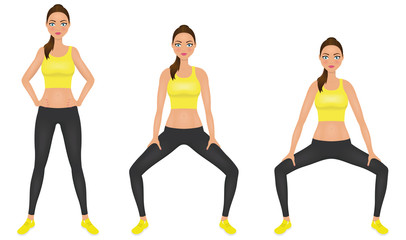 Young woman make squats exercises with hands on the hips. Fit girl in sportswear. Vector character.