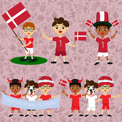Set of boys with national flags of Denmark. Blanks for the day of the flag, independence, nation day and other public holidays. The guys in sports form with the attributes of the football team