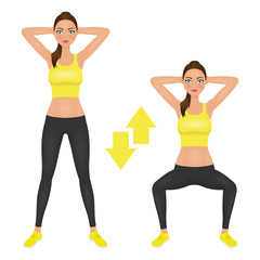 Squats exercise instruction. Young woman make squats with hands behind the head. Fit girl in sportswear. Vector character.