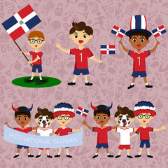 Set of boys with national flags of Dominican Republic. Blanks for the day of the flag, nation day and other public holidays. The guys in sports form with the attributes of the football team
