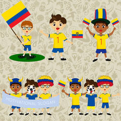 Set of boys with national flags of Ecuador. Blanks for the day of the flag, independence, nation day and other public holidays. The guys in sports form with the attributes of the football team