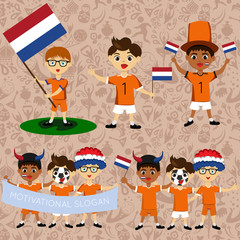 Set of boys with national flags of Netherlands. Blanks for the day of the flag, independence, nation day and other public holidays. The guys in sports form with the attributes of the football team