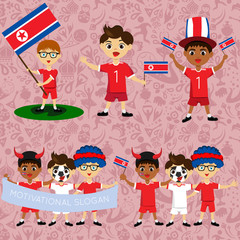 Set of boys with national flags of North Korea. Blanks for the day of the flag, independence, nation day and other public holidays. The guys in sports form with the attributes of the football team