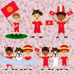 Set of boys with national flags of Kyrgyzstan. Blanks for the day of the flag, independence, nation day and other public holidays. The guys in sports form with the attributes of the football team