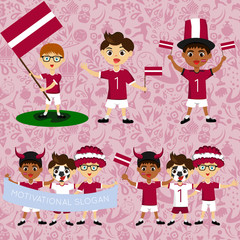 Set of boys with national flags of Latvia. Blanks for the day of the flag, independence, nation day and other public holidays. The guys in sports form with the attributes of the football team