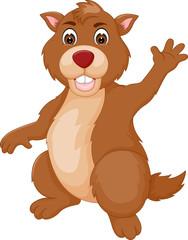 cute marmot with waving hand cartoon