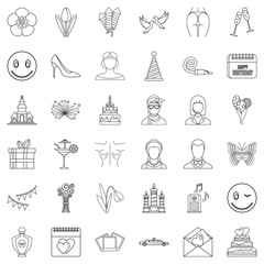 Happy woman icons set, outline style