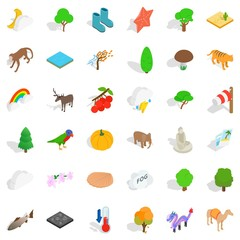 Animal icons set, isometric style