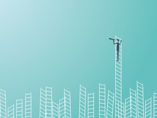 Businessman standing on top of a ladder with a telescope or monocular. Business leadership or visionary vector concept.