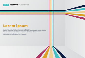 Template line vertical horizontal room perspective colorful strips for print, ad, poster, magazine, brochure, leaflet, book, Abstract vector Wall mural