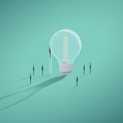 Creative teamwork business vector concept with businessman working on a lightbulb.