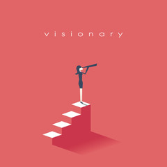 Vision concept in business with vector icon of businesswoman and telescope, monocular. Symbol leadership, strategy, mission, objectives.
