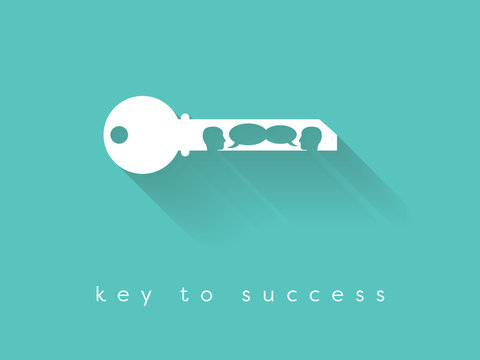 Key to success business vector concept with key silhouette and two people having business conversation.