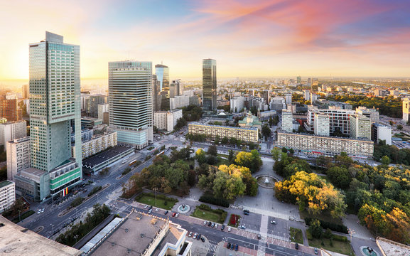 Sunset panorama of Warsaw, capital of Poland, Europe