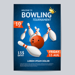 Bowling Tournament Poster Card Template. Vector