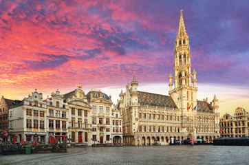 Brussels, Grand Place in beautiful summer sunrise, Belgium Wall mural