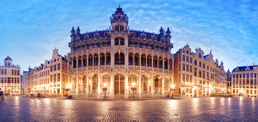 Grand Place in Brussel, panorama at night, Belgium