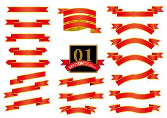赤いリボンのセット リボンオーナメント・文字飾り Ribbon for decorating