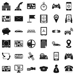 Email icons set, simple style