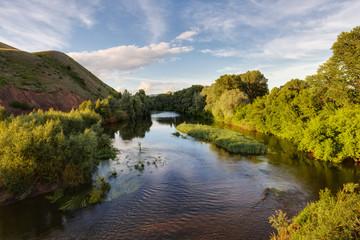 A warm summer evening on the river Sakmara, Orenburzhye