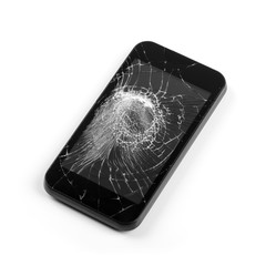 smart phone with broken screen isolated on white