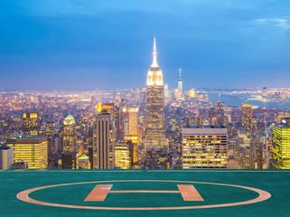 New York City skyline dusk.