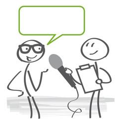 Meinungsumfrage und Interview mit Sprechblase