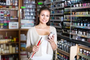 woman shopping art supplies