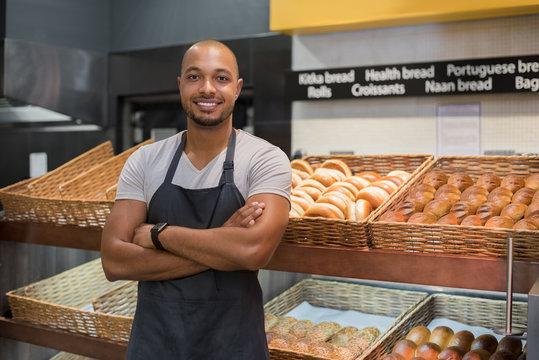 Happy african baker man