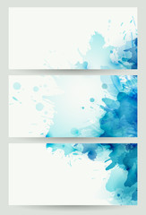 Fototapete - set of three banners, abstract headers with blue blots