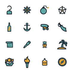 Vector flat pirate icons set