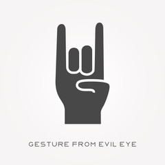 Silhouette icon gesture from evil eye