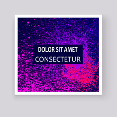 Neon colorful explosion paint splatter artistic covers design. Decorative bright texture splash spray on blue backgrounds. Trendy template vector for Cover Report Catalog Brochure Flyer