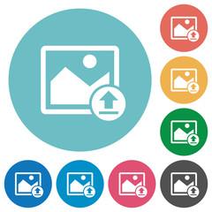 Upload image flat round icons