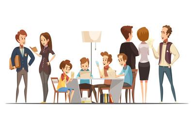 Teenage Boys Retro Cartoon Illustration