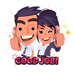 """Office couple character showing thumbs up with """"Good job text"""" - vector illustration"""
