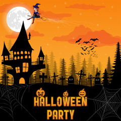 Halloween background with pumpkin, haunted house and full moon. Flyer or invitation template for Halloween party. Vector illustration