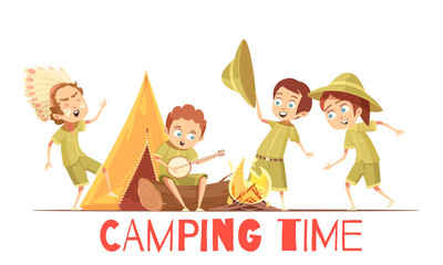 Scouts Camping Retro Cartoon Poster
