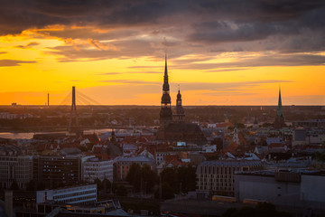 Foto op Plexiglas Milan Landscape of the city from the top, Riga in sunset light, Latvia