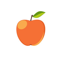 Apple isolated icon. Raster copy. Sticker or decoration for menu, book and more.