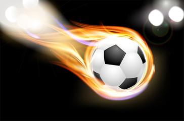 Flying burning soccer balloon and shiny lights