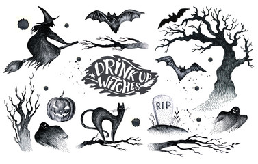 Halloween hand drawing black white graphic set icon, drawn Hallo