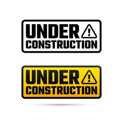 Under construction tag, website development design, vector illustration
