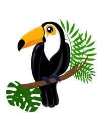 Toucan bird cartoon character. Cute toucan flat vector isolated on white. South America fauna. Guinea pig icon. Wild animal illustration for zoo ad, nature concept, children book illustrating.
