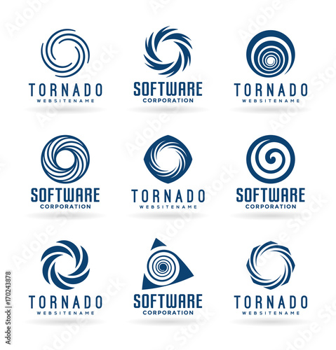 abstract tornado symbols and spiral logo design elements stock