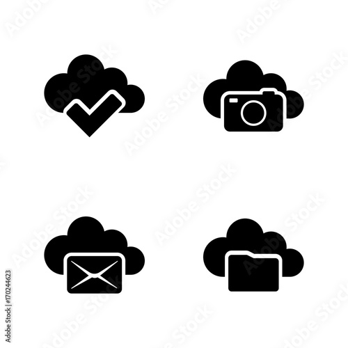 Web Cloud  Simple Related Vector Icons Set for Video, Mobile Apps