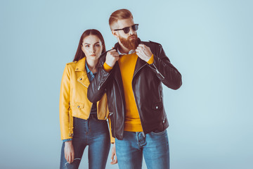 fashionable couple in leather jackets Wall mural